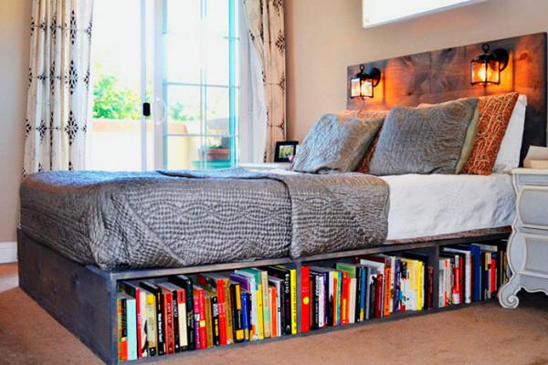 хранение книг под кроватью